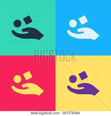 Pop Art Cube Levitating Above Hand Icon Isolated On Color Background. Levitation Symbol. Vector Illu