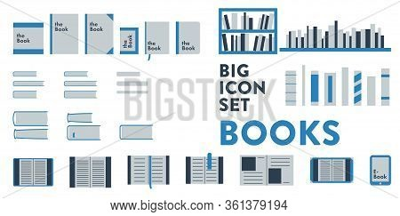 Set Of More Than 30 Vector Icons Of Books Related Items, Book, Cover, Ebook, Shelf, Binding. It Repr
