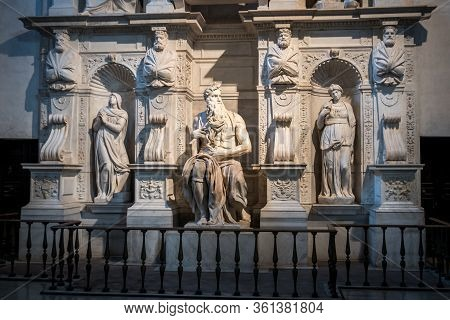 Rome, Italy, May 2018: The Marble Statue Of Moses Sculpted By Michelangelo Located In San Pietro In