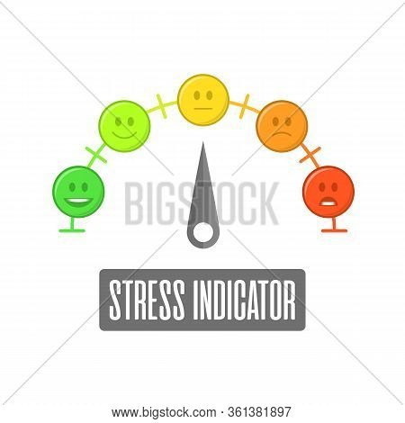 Stress Indicator In Flat Style. Gauge. Indicator With Different Colors. Emoji Faces Icons. Color Sca
