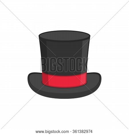 Magic Hat Icon Isolated On White Background. Black Cylinder Hat With Red Ribbon. Retro Tophat In Fla
