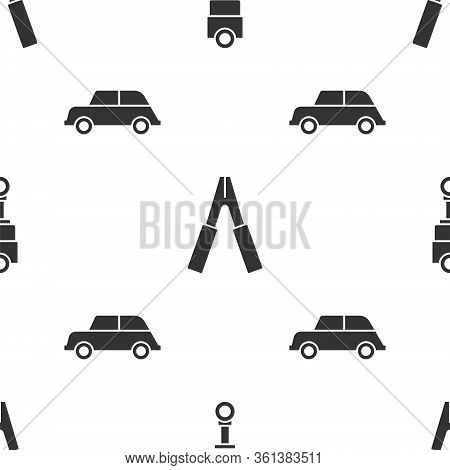 Set Engine Piston, Car Battery Jumper Power Cable And Car On Seamless Pattern. Vector