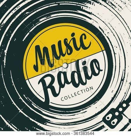 Vector Music Poster In Retro Style With Vinyl Record, Record Player And Calligraphic Inscription Mus