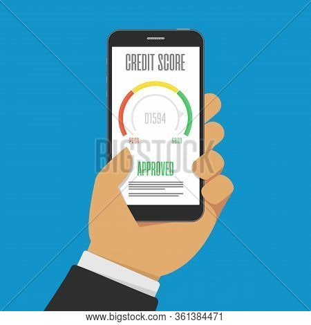 Credit Score Indicators Or Gauges On Smartphone Screen. Manometer On Mobile Phone. Financial History