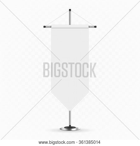 Blank Mockup Pennants In Realistic Style. White Pennant On Steel Spire Pedestal Isolated On Transpar