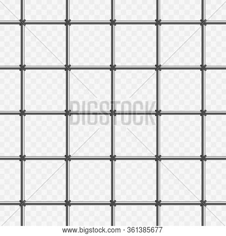 Prison Metal Bars Isolated On Transparent Background. Realistic Prison Fence Jail. Vector Seamless P