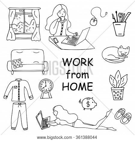 Work From Home. Set Of Icons. Girl Sitting At A Laptop And Drinking Coffee. Sofa With A Pillow, A Sl