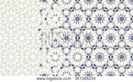 Arabesque Mosaic Vector Border, Pattern, Background. Geometric Rich Border Pattern With Color Arabes
