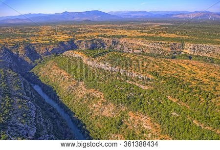 Aerial View Of The Krka River Canyon Located In Promina County At Dalmatian Zagora In Croatian Natio