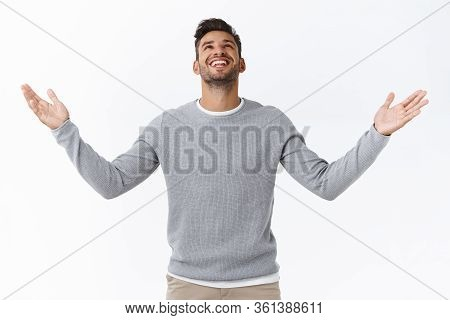 Hallelujah, Man Thanking God For Great Opportunity. Satisfied And Relieved Handsome Modern Male In G