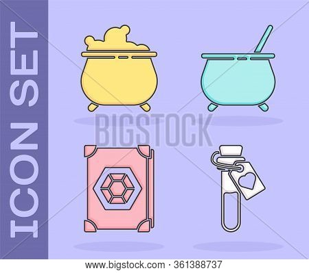 Set Bottle With Love Potion, Witch Cauldron, Ancient Magic Book And Witch Cauldron Icon. Vector