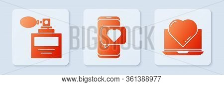 Set Online Dating App And Chat, Perfume And Online Dating App And Chat. White Square Button. Vector