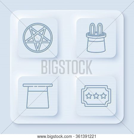 Set Line Pentagram In A Circle, Magician Hat And Rabbit Ears, Magician Hat And Ticket. White Square