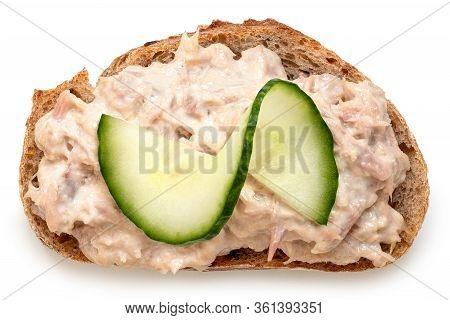 Tuna Mayonnaise With Cucumber Garnish On Wholewheat Rustic Bread Isolated On White. Top View.