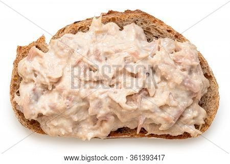 Tuna Mayonnaise On Wholewheat Rustic Bread Isolated On White. Top View.