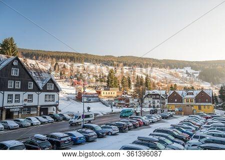 Velka Upa, Czech Republic, March 2020 - Winter Snow Mountain Village Scene. Mountain Village In Wint