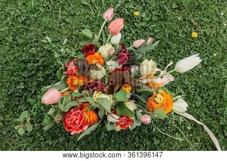 Bunch Of Colorful Flowers.bouquet Of Fresh Orange Pink Flowers On Green Background.bright Bouquet Sh