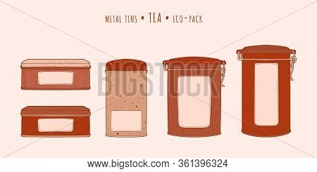Tea Vintage Metal Tins With Clip Lid In The Hand-drawn Technique