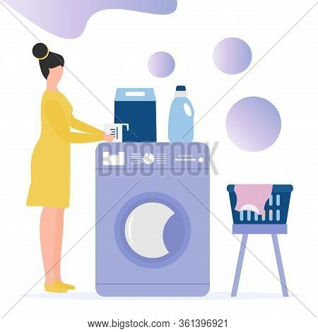 Vector Illustration Woman Carries Wash Dirty Clothes Washing Machine, Laundry Basket, Laundry Deterg