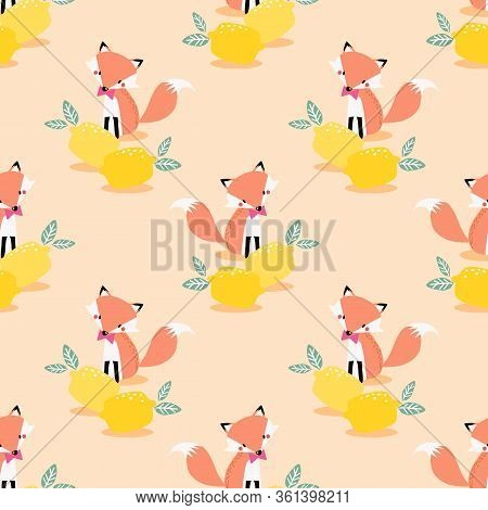 Lovely Fox And Lemon Seamless Pattern. Summer Fruit And Cute Fox.