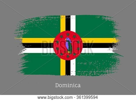Dominica Caribbean Islands Official Flag In Shape Of Paintbrush Stroke. National Identity Symbol For