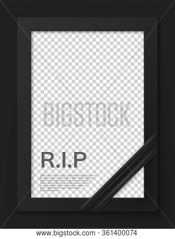 Blank Mourning Frame For Sympathy Card. Funeral Photo Frame Mockup With Black Ribbon. Black Memorial