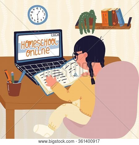 Little Girl Pupil Of Elementary School Doing Homework Online At Home By Learning Online Because Of C