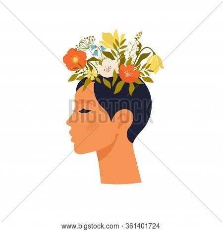 Psychology. Mental Health. Woman Character With Flower Head. Mental Health Concept, Good Mood, Harmo