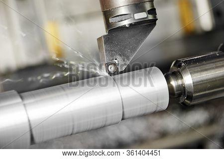 cutting tool at metal working. Turning on lathe