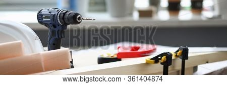 At Workplace Joiner Is Hand Drill, Vise Holds Bar. Professional Knowledge And Skills Carpenters And