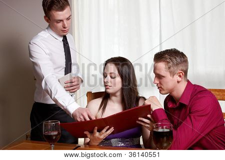 A Young Couple In A Restaurant