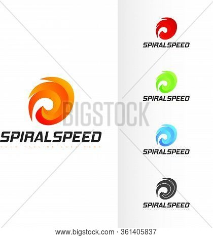Spiral Shaped Logo Abstract Elegant Bold Speedy Spinning Cyclonic Power Hand Drawn