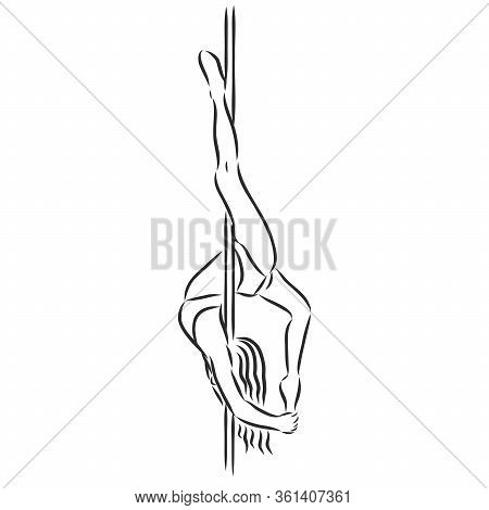 Pole Dancer On The Pole. Beautiful Young Woman On The Pole. Vector Sketch Illustration