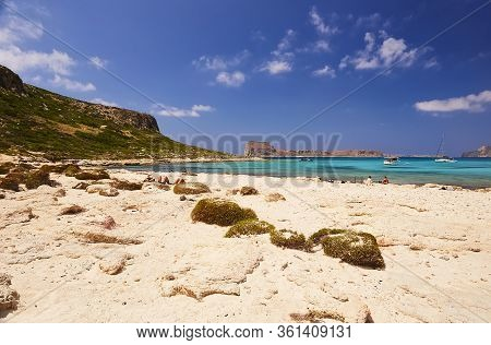 Gramvousa - Balos, The Crete Island, Greece - June 4, 2019: The People On The Beach Of Balos, The Cr