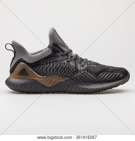 Vienna, Austria - August 24, 2017: Adidas Alphabounce Beyond Grey Carbon Sneaker On White Background