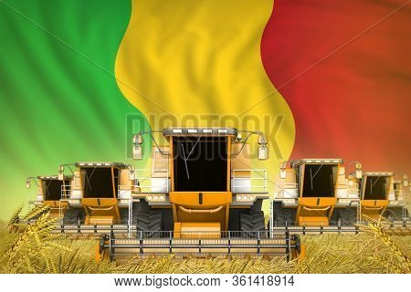 Industrial 3d Illustration Of Many Yellow Farming Combine Harvesters On Rye Field With Mali Flag Bac