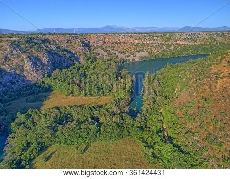 Aerial View Of The Krka River Canyon Located Downstream Of Bilusic Buk On The Exit From Of In Promin