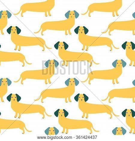 Seamless Pattern With German Badger-dog, Dachshund. Cute Cartoon Character. Animal Print.