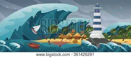 Tsunami Flat Cartoon Seascape Panoramic Landscape Vector Illustration Background. Panorama Of Horrif