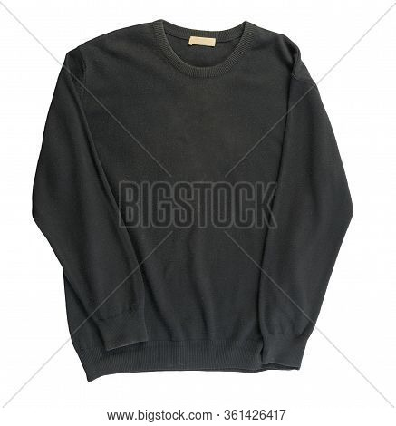 Knitted Black Sweater Isolated On A White Background. Mens Sweater Under The Neck Top View . Casual