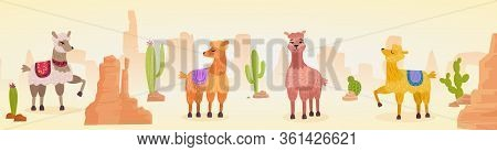 Cute Artistic Lamas Character Hand Drawn Cartoon Vector Illustration Panorama Landscape. Colored Ani