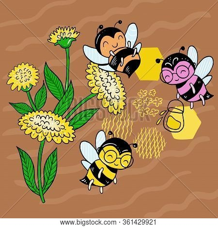 Vector Illustration Of A Bee On A Field Among The Flowers Collect Nectar