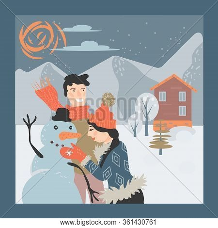 Happy Loving Couple Making Snowman On Winter Snowy Landscape Background.