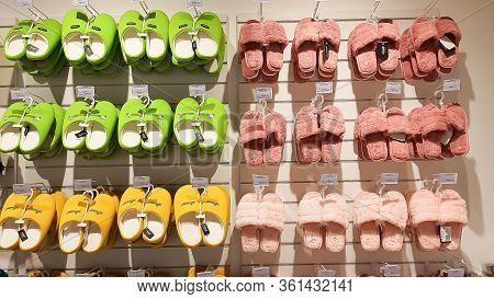 Moscow, Russia, April 2, 2020 - Many Pairs Of Bedroom Slippers Shoes For Sell In The Shopping Mall.f