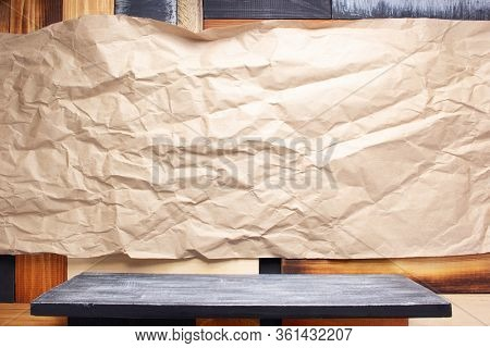 wooden shelf and plank wall  board as background texture
