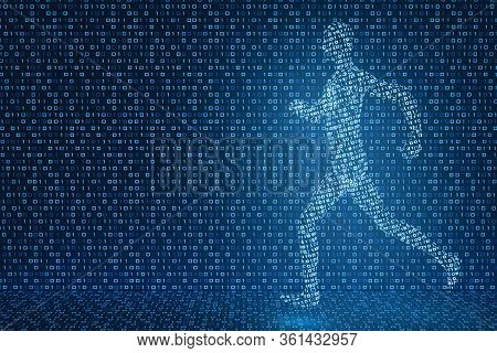 3d Model Of A Running Digital Man On The Background Of Luminous Ones And Zeros. The Concept Of The P