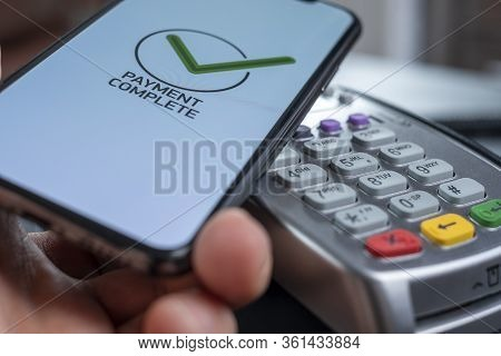 Nfc - Near Field Communication, Mobile Payment. Bank Terminal For Non-cash Payment By Mobile Phone O
