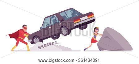 Male, Female Super Hero Wearing A Red Costume, Pulling Heavy Stone, Car. Effective Man, Woman Warrio