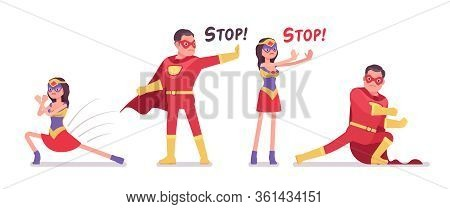 Male, Female Super Hero Wearing Bright Red Costume, Fight And Stop Pose. Effective Man, Woman Warrio