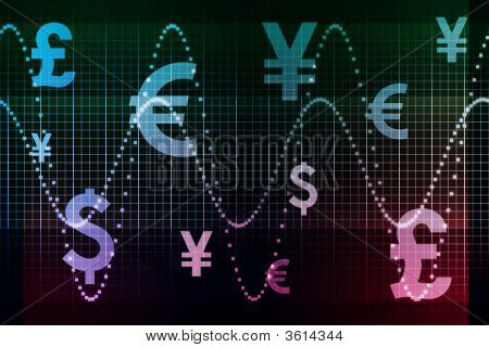 Blue Purple Financial Sector Global Currencies Abstract Background Wallpaper poster